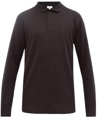 Sunspel Long-sleeved Waffle-knit Cotton Polo Shirt - Mens - Black