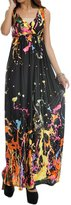 Wantdo Womens Maxi Boho Bohemian V-neck Sexy Beach Dress Plus