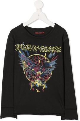 Zadig & Voltaire Kids Logo Graphic Print Long-Sleeve Top