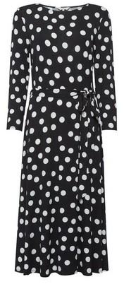 Dorothy Perkins Womens **Billie & Blossom Tall Black And White Spot Midi Dress, Black