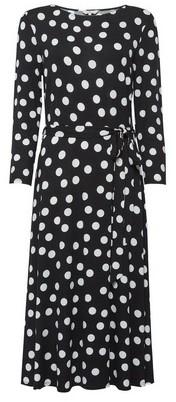 Dorothy Perkins Womens Billie & Blossom Tall Black And White Spot Midi Dress, Black