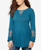 A Pea in the Pod Maternity Lace-Trim Blouse