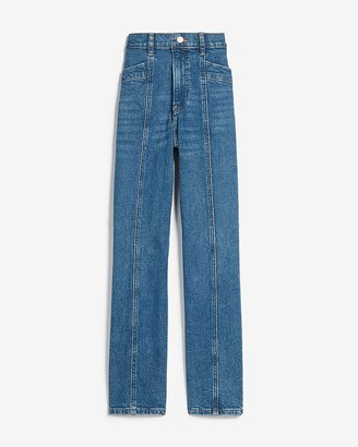 Express Super High Waisted Seamed Straight Jeans