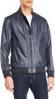 Andrew Marc Faux Leather Varsity Jacket
