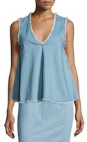 Nicholas Sleeveless Raw-Edge Denim Top, Blue