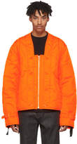 Helmut Lang Orange Quilted Thrown On Jacket