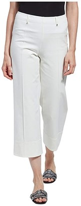 Lysse Giorgia Wide Leg Crop Pull-On Pants with Belt Loops in Stretch Twill (Off-White) Women's Casual Pants