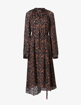 AllSaints Nina Torto tortoiseshell-print crepe dress