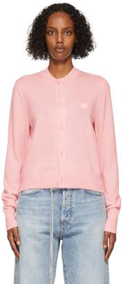Acne Studios Pink Wool Patch Cardigan