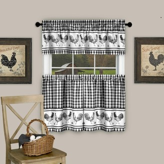 """Sweet Home Collection 3 Piece Barnyard Buffalo Check Rooster Tier and Valance Curtain Set- 24"""" Black - 24 inch"""