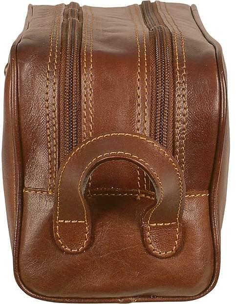 Chiarugi Handmade Brown Genuine Italian Leather Toiletry Travel Kit