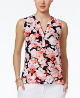 Nine West Floral-Print V-Neck Blouse