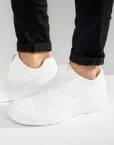 Armani Jeans Elastic Runner Sneakers In White