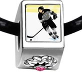 GiftJewelryShop Olympics male Hockey player in competition Photo Light Rose Crystal October Birthstone Flower Charm