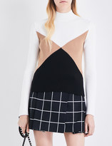 Valentino Geometric panel ribbed wool top