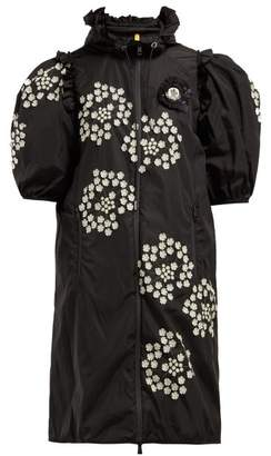 Simone Rocha 4 Moncler Floral Applique Puff-sleeve Parka - Womens - Black