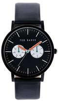 Ted Baker Multifunction Leather Strap Watch, 40mm