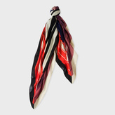Paul Smith Men's Red And Chocolate Border Stripe Wool Scarf