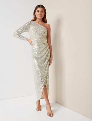 Forever New Melissa Sequin Gown - Silver - 10