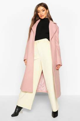 boohoo Belted Collared Wrap Wool Look Coat