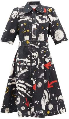 Charles Jeffrey Loverboy Asteroid-print Cotton Midi Dress - Womens - Black Multi