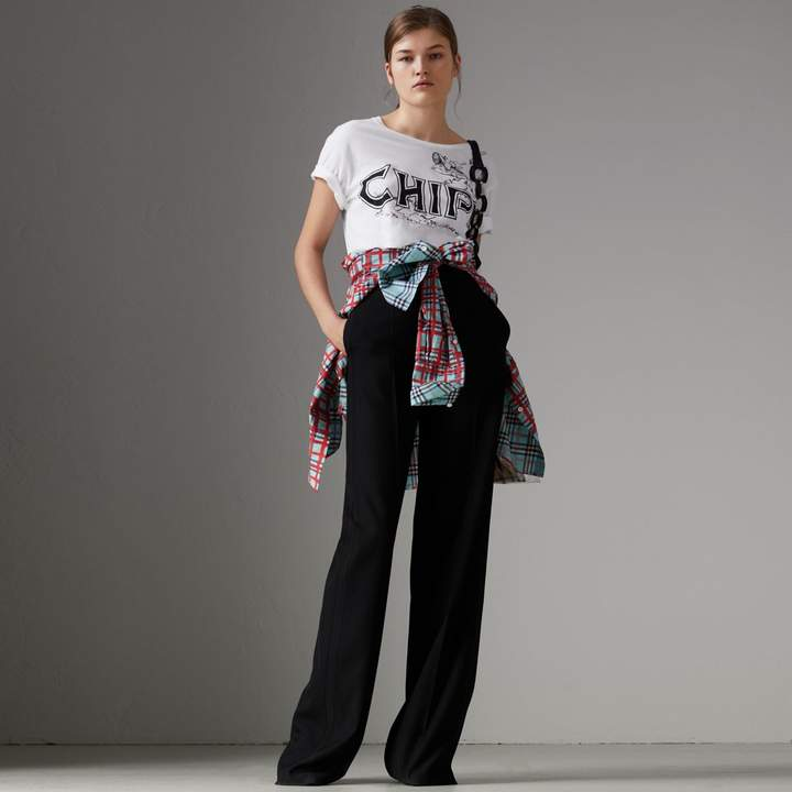 Burberry Fish and Chips Print Cotton T-shirt