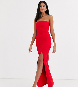 Vesper Tall bandeau maxi dress with leg split in red