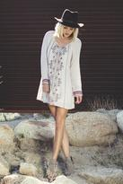 En Creme Long-Sleeve Tassel Dress