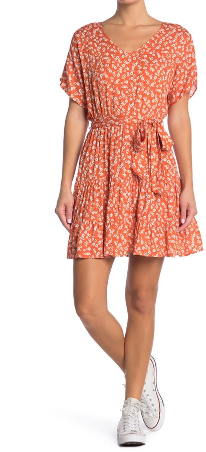 Lush Printed Tie Front Ruffle Skirt Dress