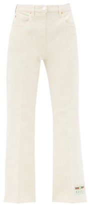 Gucci Logo-patch Cropped Cotton-blend Drill Trousers - Ivory