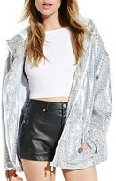 Haoduoyi Womens Holographic Sequin Pocket Side Hooded Coat(L,)