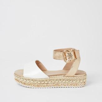 River Island Girls White studded flatform sandals
