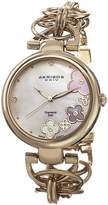Akribos XXIV Women's AK645YG Lady Diamond Swiss Quartz Diamond Mother-of-Pearl Flower -Tone Circle Link Bracelet Watch
