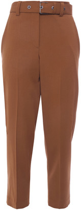 Brunello Cucinelli Cropped Belted Stretch-wool Cady Tapered Pants