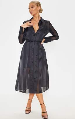 PrettyLittleThing Black Satin Midi Shirt Dress
