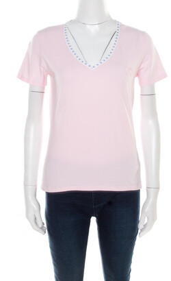 Celine Pink Jersey Blazon Chaine Logo Embroidered Contrast Trim T-Shirt L