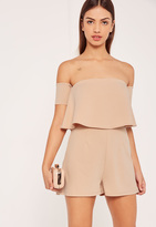 Missguided Nude Bardot Double Layer Crepe Playsuit