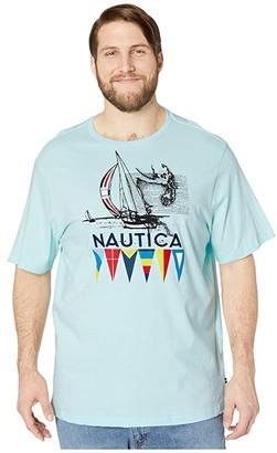 Nautica Big Tall Short Sleeve Graphic Tee (Blue) Men's Clothing