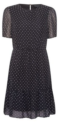 Dorothy Perkins Womens Monochrome Dobby Frill Fit And Flare Dress