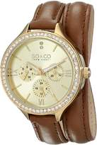 SO & CO New York Women's 5047S.1 SoHo Quartz Day and Date Crystal Accented -Tone Double Wrap Leather Watch