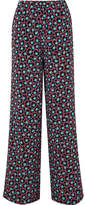 Marni Printed Silk-crepe Wide-leg Pants - Black