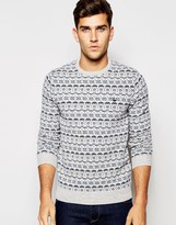 Jack Wills Fair Isle Sweater In Lambswool With Crew Neck In Gray