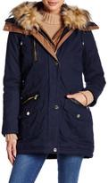 GUESS Detachable Faux Fur Trim Filled Jacket
