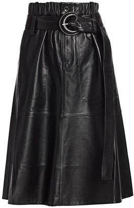 Proenza Schouler White Label Leather Belted Midi Skirt