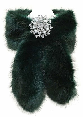 FANOVI Women's Large Faux Fox Fur Shawl Wrap Stole Shrug Bridal Wedding Cover Up Green with Black Tip