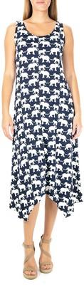 Nina Leonard Women's Elephant Print Lace-Up Maxi Dress