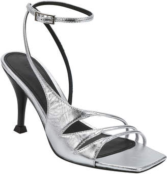Sigerson Morrison Carissa Strappy Metallic Ankle-Wrap Sandals