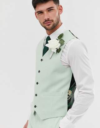 Asos Design ASOS DESIGN wedding super skinny suit waistcoat in green cross