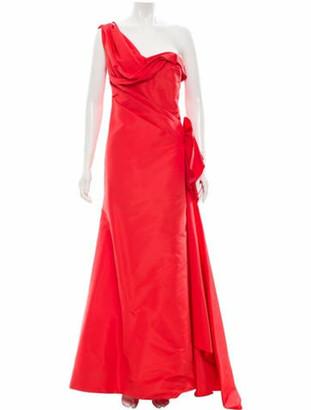 Oscar de la Renta One-Shoulder Silk Gown Red