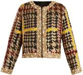 Ashish Collarless hound's-tooth sequin-embellished jacket
